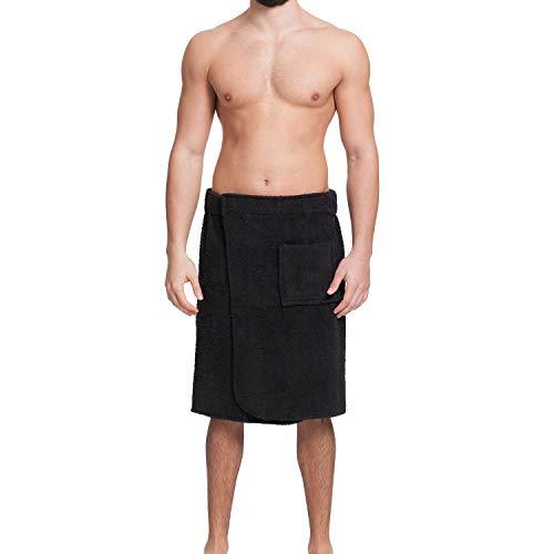 OAHOO Herren Saunakilt/Badehandtuch - Einstellbarer breiter Klettverschluss mit Gummizug - aufgesetzte Tasche - 100% Baumwolle Frottee, Black, L / XL