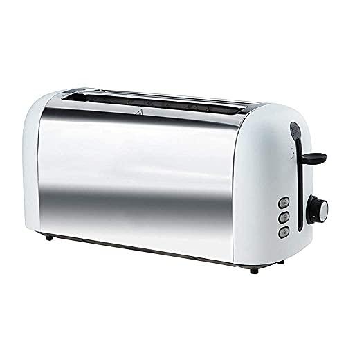 4 rebanadas de tostadora automática, material de acero inoxidable 304, parrilla ultra ancha de 35 cm, calefacción de doble cara sin ardor, puede hornear pan grueso, palitos franceses, etc., blanco
