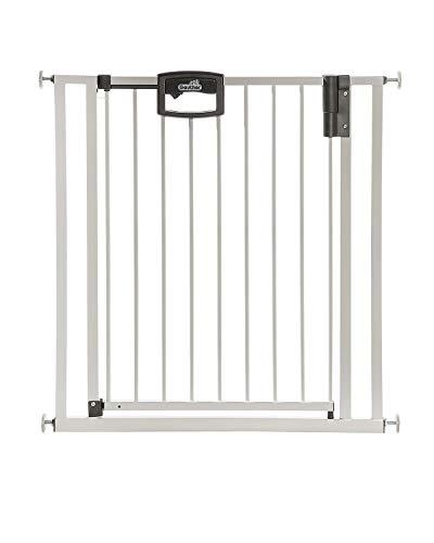 Geuther Treppenschutzgitter ohne Bohren Easylock 4793+, für Kinder oder Hunde, zum klemmen, Metall, 84,5 - 92,5 cm, weiß/silber weiß/silber