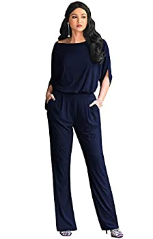 KOH KOH Womens Short Sleeve Sexy Formal Cocktail Casual Cute Long Pants One Piece Fall Pockets Dressy Jumpsuit Romper Long Leg Pant Suit Suits Outfit Playsuit Dark Navy Blue L 12-14