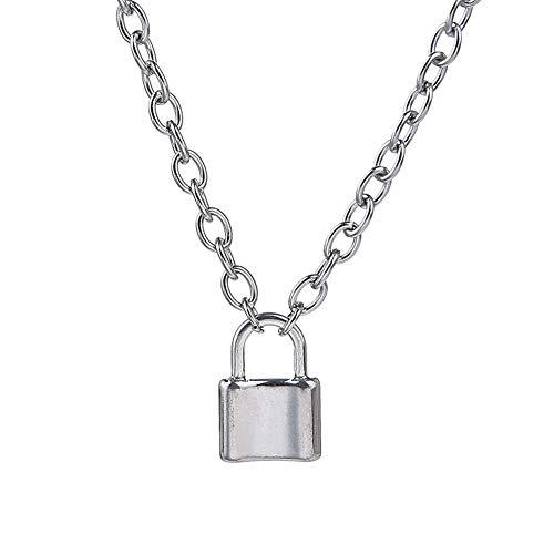 Zonfer Candado de Plata Colgante Collar Creativo Collar de Cadena de Cable Regalo de Novedad para Hombres Mujeres