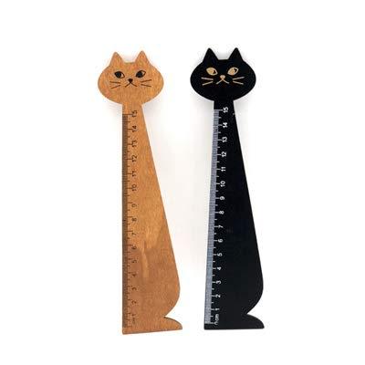 ロジック 定規 [猫 木 ものさし 15cm] ねこ 文房具 2種類セット