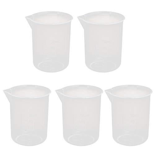 5pcs 50ml PP plástico taza de medición volumétrica recipiente vaso de precipitados 48 mm x 60 mm