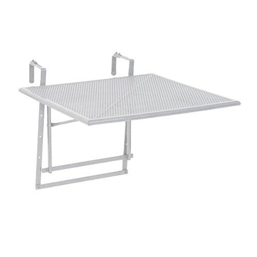 Greemotion Toulouse Tavolino Da Appendere Alla Ringhiera Del Balcone, Bianco, 60 X 58 X 40 Cm