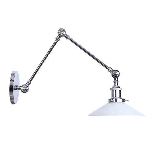 Wandlamp met trillingsarm, 1 wandlamp, inklapbaar, verstelbaar op het hoofd, accessoire voor wandverlichting voor slaapkamer in de hal, hal, café, bar