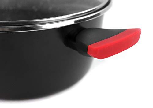 Magefesa Pack Niger con tapas - Olla 20cm, Cacerola 24cm, Guisera 28cm, Asador 28cm, Wok 28cm, Sartén 24cm, Sartén 28cm. Antiadherente bicapa efecto piedra, apta para todo tipo de cocinas