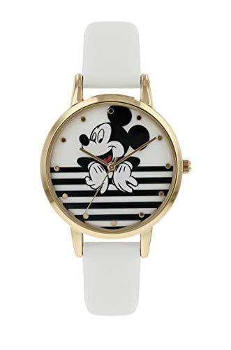 Mickey Mouse Damen Analog Quarz Uhr mit Leder Armband MK5092