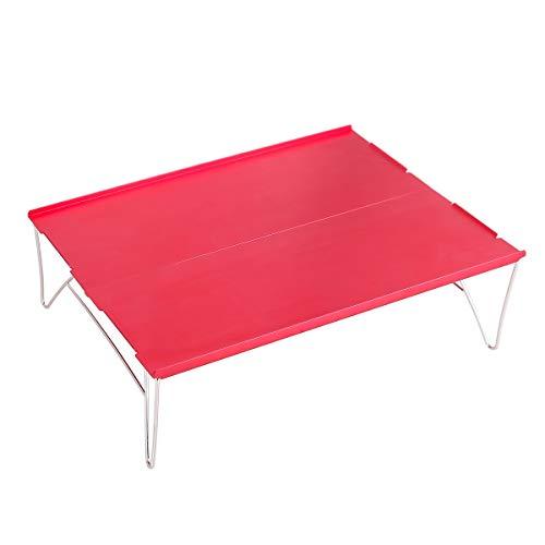 YOLER キャンプテーブル アウトドア 組み立て式 超軽量テーブル ミニテーブル ピクニック 収納ケース付 35x25x10cm レッド