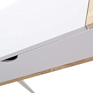 Selsey - VISBY - Bureau scandinave/Bureau Design - 120 cm - Blanc/Effet chêne - 3 Compartiments fermés - Style Nordique