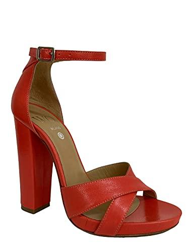 WO MILANO Sandalo Donna Pelle Corallo Tacco 12 Art 555 Made in Italy (Numeric_37)