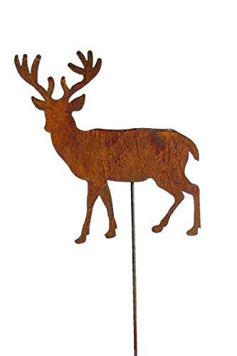 Bornhöft Gartenstecker Hirsch, Sterne aus Edelrost Metall Rost Gartendekoration Weihnachten rostige Gartendekoration 118cm stehend