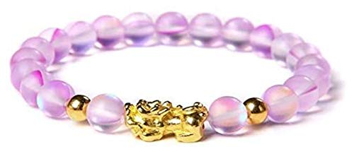 AnimeFiG Feng Shui Obsidian Piedra Beads Pulsera Hombres Mujeres Natural Moonstone Beaded Gold Pixiu Wealth Lucky Charm Pulsera Longitud 21 cm