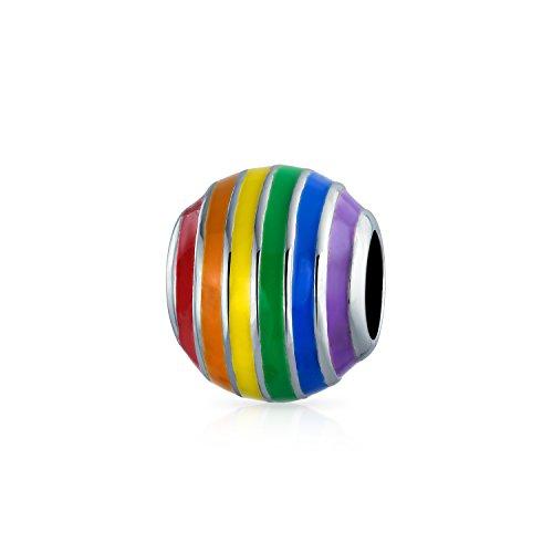 Inspirierende Regenbogen Gay Pride Rechte Symbol Spacer Perle Charme für Frauen 925 Sterling Silber