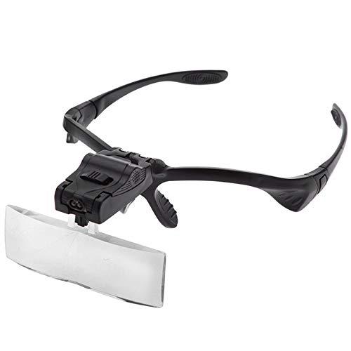 Lupa de diadema con luz LED, manos libres, lupa con 5 lentes desmontables, gafas de aumento profesional para lectura, arte de...
