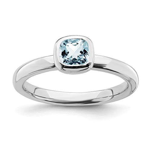 925 Sterling Silver Cushion Cut Blue Aquamarine Band Ring Size 7.00 Stackable Gemstone Birthstone March Fine Jewelry For Women Gift Set