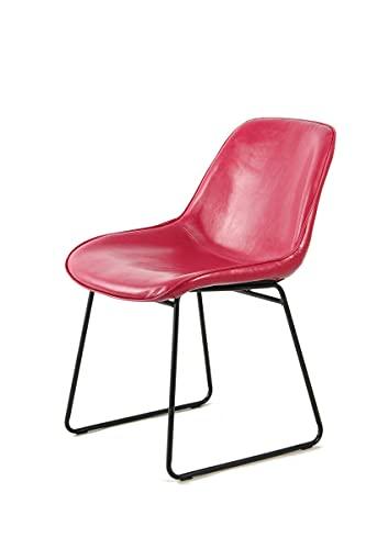YJYDD Stuhl Industrial Leder Look Schalenstuhl Retro Esszimmerstuhl Pink Rot 2er-Set