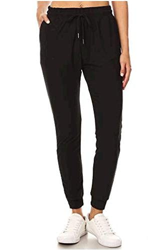 LA12ST Women's Soft Jogger Pants Drawstring Pockets Black