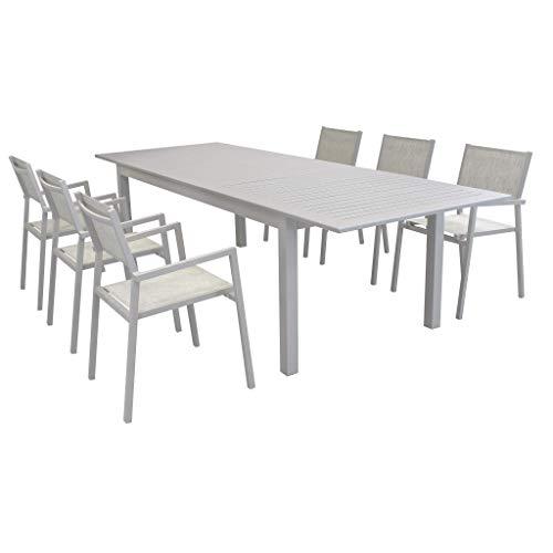Milani Home s.r.l.s. Set Tavolo Giardino Allungabile Rettangolare 220/280 X 100 con 6 Poltrone in Alluminio Tortora per Esterno
