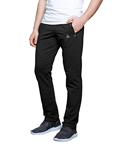 SCR SPORTSWEAR Men's Sweatpants All Day Comfort Workout Athletic Activewear Lounge Pants with Zipper Pockets Long Inseam Pants for Tall Men (XL x 36L, Black-K434)