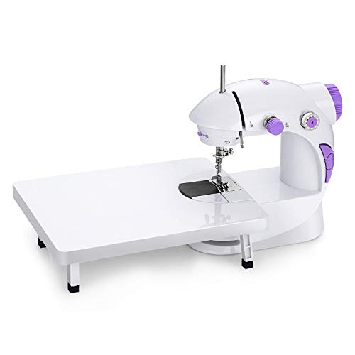 201 Mini Portable Sewing Machine with Extension Table,Adjustable Double Speed Crafting Mending Machine with Foot Pedal,for Household Kids Beginners