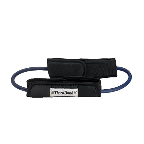 TheraBand Professional Latex Resistance Tubing with Handles For Upper-Body Exercise, Rehab and Conditioning, 12 Inch With Padded Cuffs, Blue, Extra Heavy, Intermediate Level 2