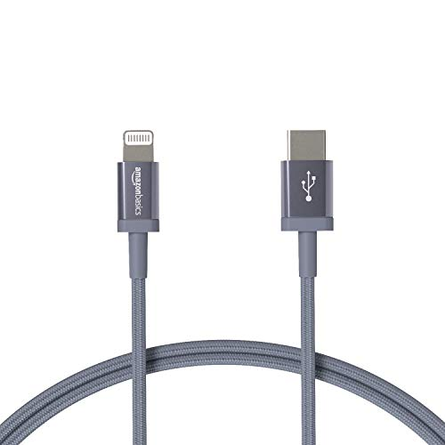 Amazon Basics - Cable trenzado de nylon USB-C a Lightning, cargador certificado por MFi para iPhone 12/12 Pro/12 Pro max/11/11 Pro/11 Pro Max/X/XS/XR/XS Max/8/8 Plus, color gris oscuro, 0,9 m