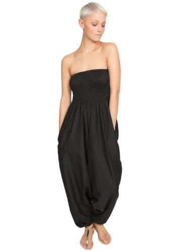 likemary Extraweite Damen Haremshose - Einteiler aus Baumwolle – Jumpsuit Overall - Pluderhose mit Bandeau Oberteil - Größen 36 bis 44 - Vielseitig anpassbar schwarz