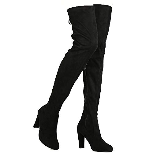 Nature Breeze Womens Stretchy Thigh High Pull String Chunk Heel Combat Boots,Black Suede,8