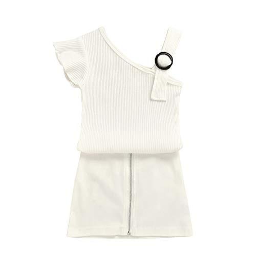 Kleinkind Kinder Baby Mädchen Rüschen Leibchen Schulterfrei Tops Feste Röcke Outfits