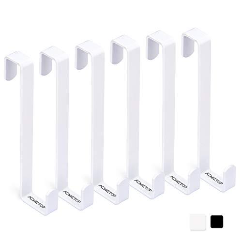 ACMETOP 6 Piezas Ganchos Reversibles para Puerta, Cajón, Armario, Ganchos de Puerta de Doble Cabeza se Ajustan en Puerta de 1.3 cm y 2.3 cm, Gancho Puerta de Metal Aguanta Hasta 10 kg (Blanco)