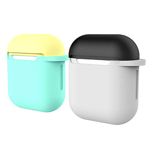 ICETEK AirPods Case Cover, Silicone AirPods Glow Case Protective 7 In 1 AirPods Accessories Set with Clip Holder/Keychain/Strap/Ear hooks/Soft Storage Bag for Apple Airpod (6-Nightglow Green)