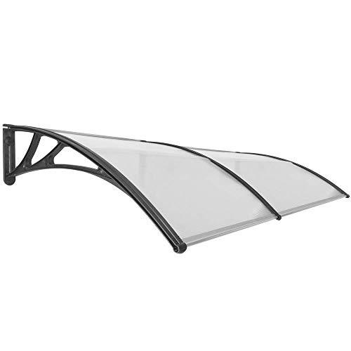 PrimeMatik - Tejadillo de protección 200x100cm Marquesina para Puertas y Ventanas Negro