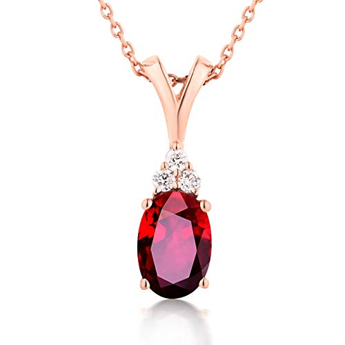 ButiRest 18K Gold 0.52ct Red Ruby Oval Cut with Diamond 18K 750 Rose Gold Pendant Teardrop Necklace Ladies Wedding