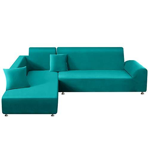 TAOCOCO Sofabezug mit elastischer Halbinsel, Chaise Longue Sofa Cover aus Polyester in L-Form (blau-türkis, 3-Sitzer + 4-Sitzer)