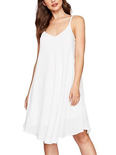 Romwe Women's Adjustable Strap Summer Beach Sleeveless Casual Loose Swing Dress White L