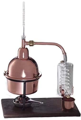 Destillator aus Kupfer mit Kühlspirale aus mundgeblasenem Glas, 1Liter