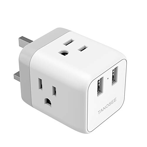 UK Ireland London Power Adapter, TANOSEE UK Travel Plug Adapter with 2 USB Charger and 3 American Outlets, US to British Scotland England Hongkong Adaptor (Type G Plug)