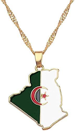 WYDSFWL Collar Irak Nigeria Ghana Australia Kurdistán Tarjeta Colgante Collar para Mujer Accesorios de joyería de Oro África Anniyo Collar de Tarjeta de Jamaica