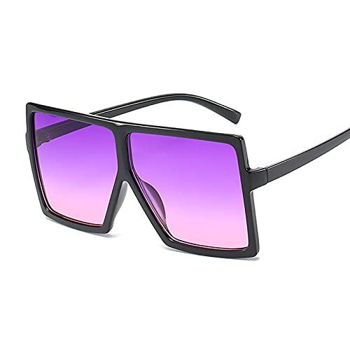NJJX Gafas De Sol De Gran Tamaño Para Mujer, Gafas Cuadradas De Moda Rosa, Montura Grande, Gafas De Sol Para Mujer, Vintage, Retro, Unisex, Negro, Púrpura