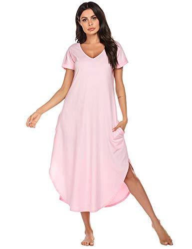 Ekouaer Nightgowns for Women Plus Size V Neck Long T-Shirt Sleepwear Short Sleeve Nightwear(Misty Rose, Large)