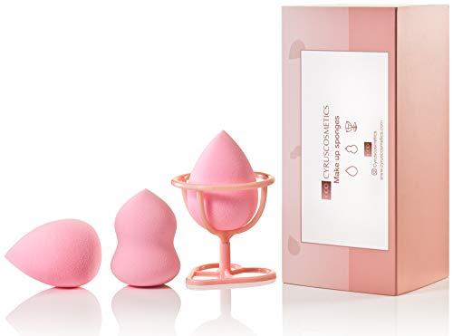 Cyruscosmetics 2 Make up blender und Halterung (3-teilig), Set als Geschenkbox latexfrei parfümfrei Make up Schwamm