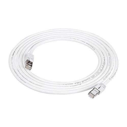 Amazon Basics - Cable para internet Ethernet Gigabit de banda ancha RJ45 Cat 7, color blanco, 3 m