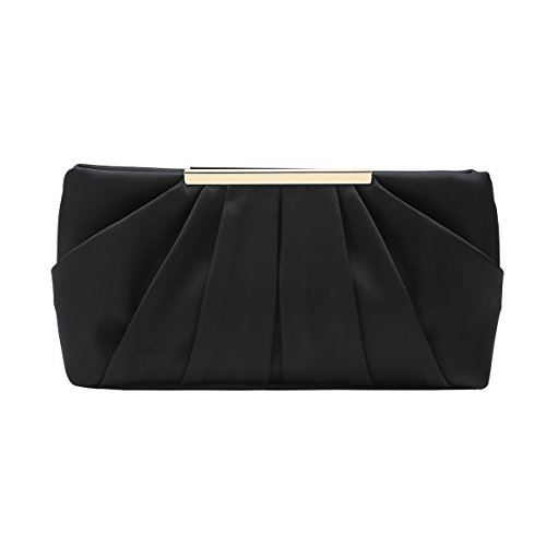Charming Tailor Clutch Evening Bag Elegant Pleated Satin Formal Handbag Simple Classy Purse for Women (Black)