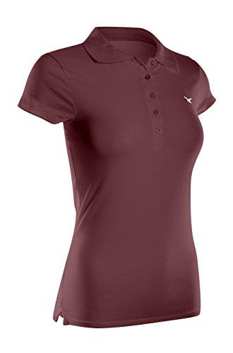 2LUV - Camiseta de tirantes - Manga Larga - para mujer Rojo granate