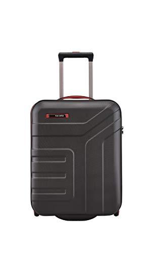 travelite 2-Rad Handgepäck Koffer mit TSA Schloss erfüllt IATA Borgepäck Maß, Gepäck Serie VECTOR: Robuster Hartschalen Trolley in stylischen Farben, 072007-01, 55 cm, 44 Liter, schwarz/rot