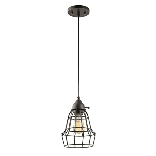 Elior 1-Light Pendant, Oil Rubbed Bronze, Cage Shade, Black...