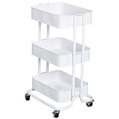 HOMCOM 3- Tier Rolling Metal Kitchen Utility Cart Trolley with Storage - White by Aosom LLC
