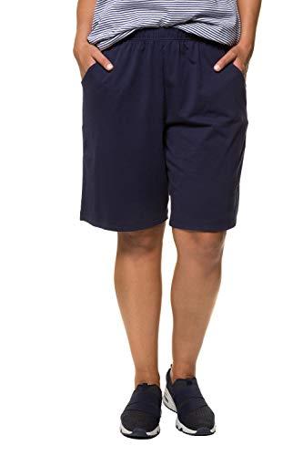 Ulla Popken Damen Jersey Shorts, Blau (Dunkelblau 70), 58