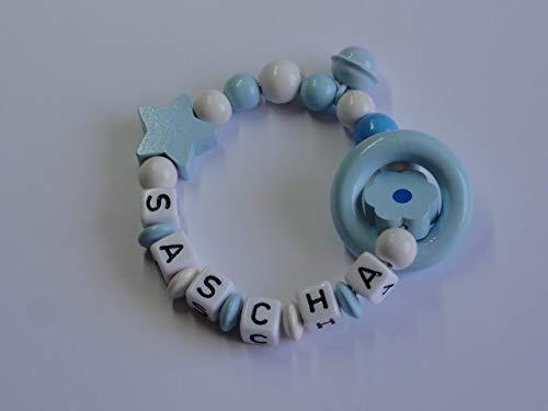 Greifling mit Namen Rassel Weiß – Babyblau