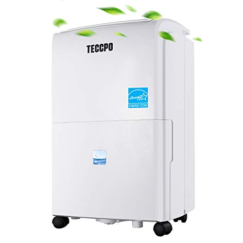 TECCPO 50 Pint Dehumidifier, 2500 Sq. Ft, Super Quiet, Energy Star, Intelligent Humidity Control, with Wheels, 1.0 Gallon/3.8 L Water Tank Capacity, High Performance for Basement, Closet, Garage, RV